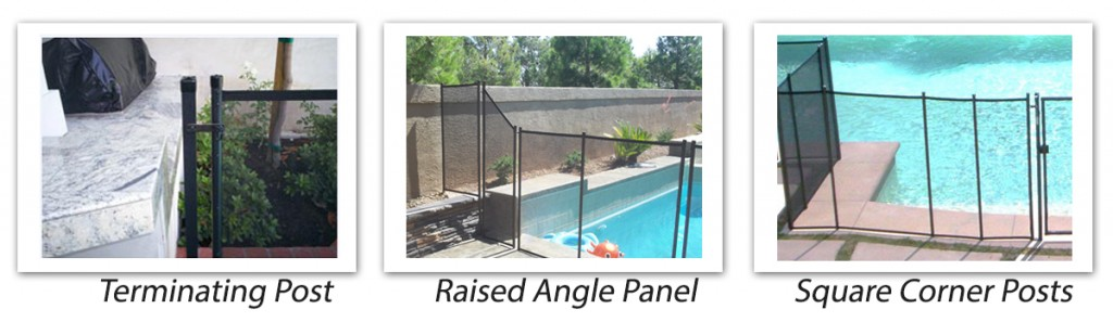optional fencing features terminating post raised angle panel and square corner post