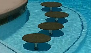 pool seats installed in swimming pool