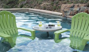 table installed in pool