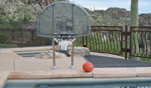 traditional basketball hoop for swimming pool
